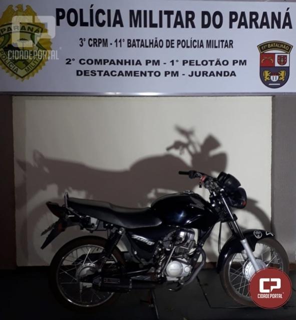 Motocicleta foi apreendida em posse de um menor por direção perigosa em Juranda