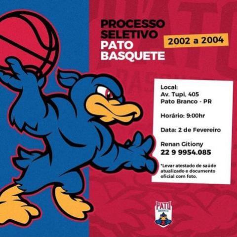 Pato Basquete realizará seletiva de categorias sub 15, sub 16 e sub 17