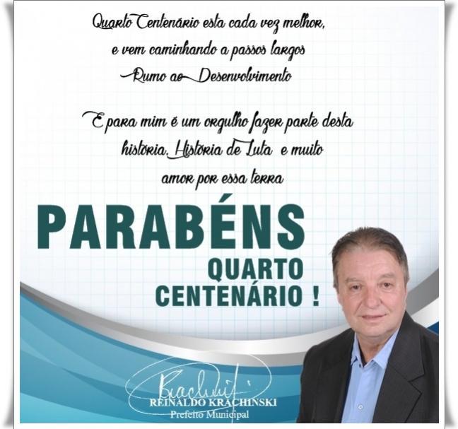 Mensagem do Prefeito Reinaldo Krachinsk - Conheça toda programação do Aniversário do Munícipio