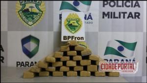 Policiais do Batalhão de Fronteira apreendem um casal com 29 quilos de Maconha que seria comercializado em Goioerê