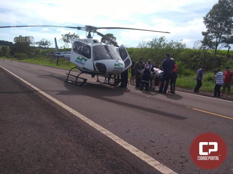 Motorista fica gravemente ferido após capotamento entre Janiópolis e Goioerê na BR-272 neste sábado, 29