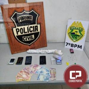 Policiais do 7º BPM e Polícia Civil apreendem drogas e encaminham 03 pessoas por associação criminosa em cidade Gaúcha