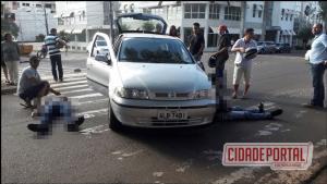Veículo com placas de Goioerê deixa duas pessoas com ferimentos após cruzar preferencial em Campo Mourão.