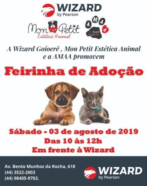 Neste sábado, 03, Wizard Goioerê e Mon Petit realizam Feira de Doação de Animais em prol da AMAA