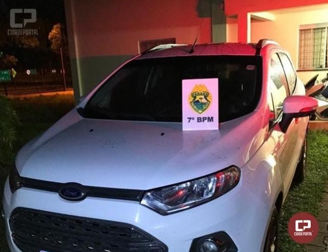 Policiais Militares do 7º BPM recuperam, em Cruzeiro do Oeste, veículo que foi roubado em Campo Mourão