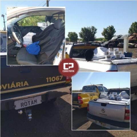 PRE de Cascavel apreende veículo roubado com carga de cigarros contrabandeados
